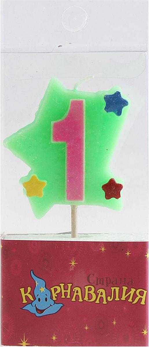 Страна Карнавалия Свеча воск для торта цифра 1 звездочки 635687