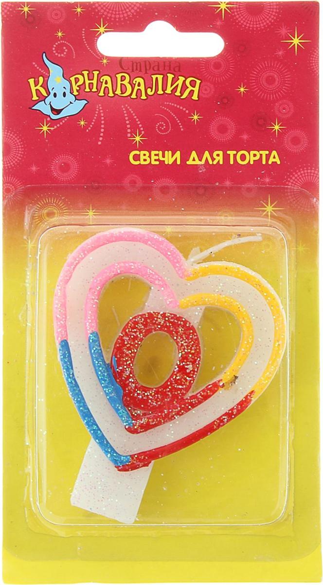 Страна Карнавалия Свеча воск для торта цифра 0 двойное сердце радуга 832114