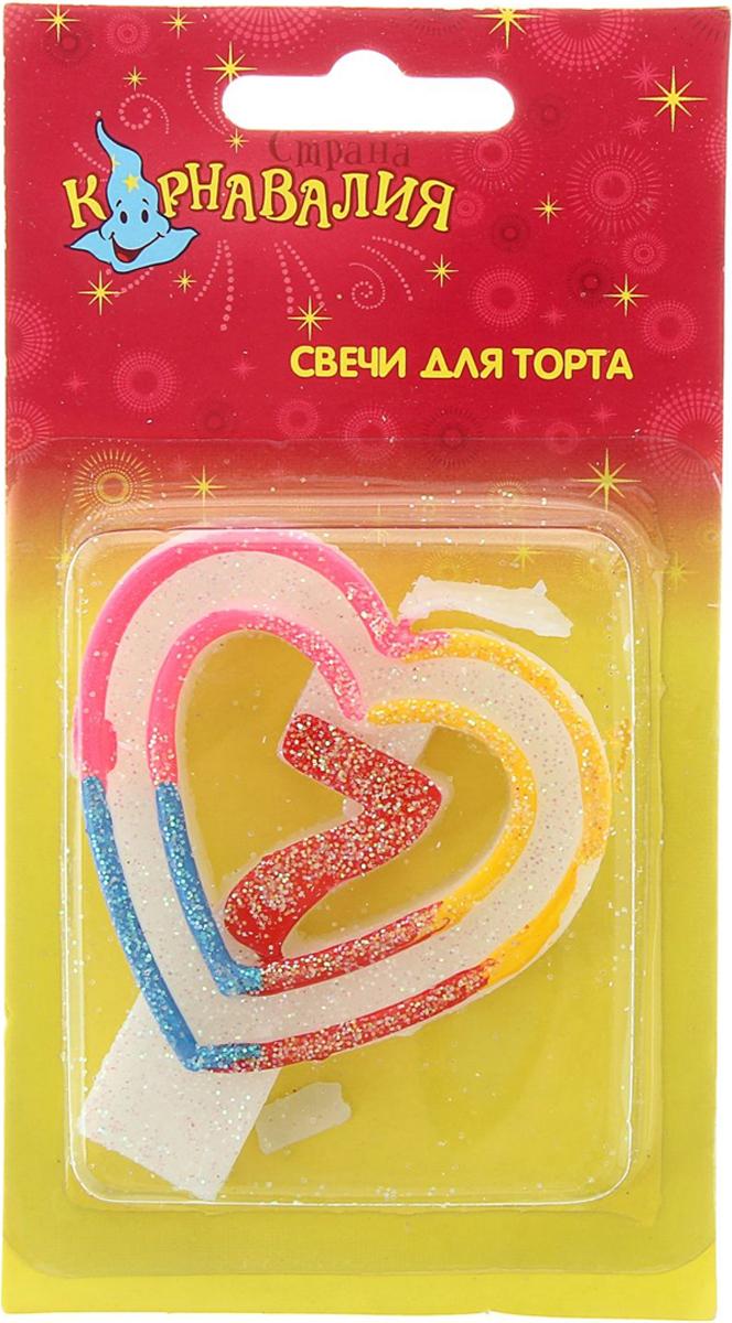 Страна Карнавалия Свеча воск для торта цифра 7 двойное сердце радуга 832121