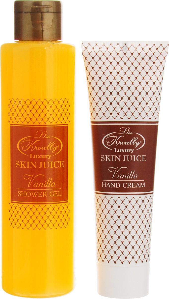 Liss Kroully Набор Ванилла: гель для душа 260 мл, крем для рук 100 мл2150-OR-1703Гель для душа Skin Juice бережно очищает и увлажняет кожу. Приятный аромат создает хорошее настроение и наполняет энергией. Нежный Крем для рук Skin Juice с комплексом витаминов А, E, F питает и глубоко увлажняет кожу, придавая шелковистость. Благодаря тающей текстуре крем мгновенно впитывается и дарит тонкий, нежный аромат.