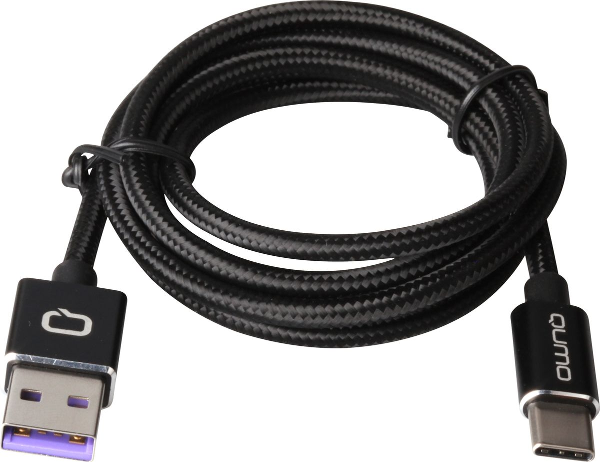 QUMO кабель USB Type-C/USB 2.0 в оплетке, Black (5А) плеер qumo marshmallow 8gb black 20576
