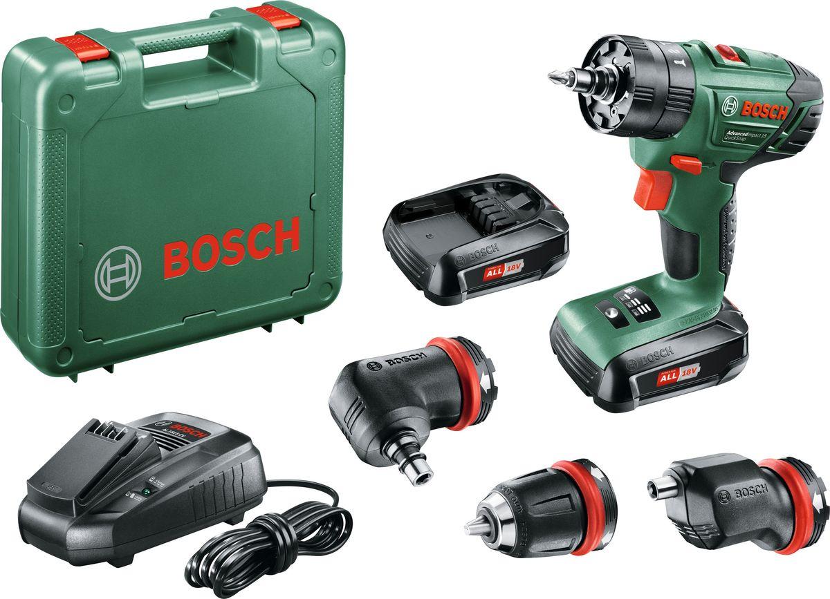 Дрель-шуруповерт ударная Bosch AdvancedImpact Quick Snap, аккумуляторная. 06039A340106039A3401Высокопроизводительная аккумуляторная ударная дрель-шуруповерт от Bosch AdvancedImpact Quick Snap. Аккумулятор 18 V Li-Ion гарантирует вам достаточно мощности практически для любой задачи по дому, будь то сборка мебели или сверление отверстий в кирпичной кладке, а также постоянную готовность к работе и отсутствие эффекта саморазряда и эффекта памяти. Характерной особенностью данного инструмента является наличие разнообразных сменных насадок: в комплект поставки AdvancedImpact Quick Snap входит стандартный сверлильный быстрозажимной патрон, а также эксцентриковая и угловая насадки для заворачивания шурупов с краю и под углом. Простота смены насадок гарантирована благодаря интерфейсу QuickSnap - один щелчок, и насадка уже зафиксирована на инструменте. Аккумулятор и зарядное устройство является универсальным и подходят для всех инструментов Bosch 18 V Li-Ion для домашних мастеров и садовой техники. Технические параметры: Напряжение аккумулятора - 18 В. Число оборотов холостого хода (1-я/2-я скорость) 0 – 400 / 1.350 об/мин. Макс. крутящий момент 38 Нм. Макс. крутящий момент при вворачивании шурупов в мягкий/твердый материал 19 / 38 Нм. Число ступеней крутящего момента: 20 + 2. Макс. частота ударов: 21.700 уд/мин. Сверлильный патрон - Быстрозажимной сверлильный патрон 10 мм. Макс диаметр сверления в стали/древесине/кирпиче/шурупов: 10/30/10/8 мм. Комплектация: угловая насадка, эксцентриковая насадка, быстрозажимной патрон, двойная бита, 2 аккумулятора 18 В, зарядное устройство, инструкция по применению, пластмассовый кейс.
