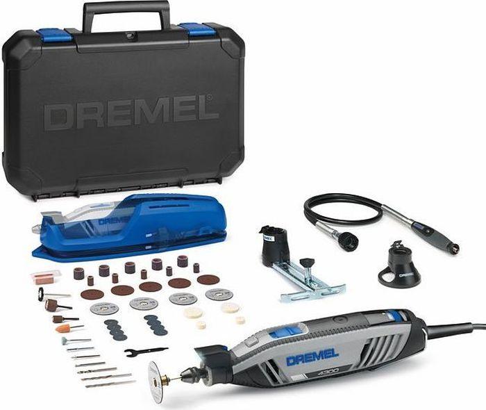 Многофункциональный инструмент Dremel 4300-3/45. F0134300JDF0134300JDМногофункциональный инструмент Dremel 4300-3/45 изготовлен с максимальной мощностью в компактном исполнении. Работайте с высочайшей точностью благодаря встроенной светодиодной подсветке 360°. Пригоден для работы даже в слабо освещаемых местах. Технические данные: мощность - 175 Вт; габариты инструмента - 24 х 4,1х4,3 см; Частота вращения на холостом ходу - 5.000-35.000 об/мин; Регулировка скорости; Технология быстрой смены аксессуаров без дополнительных инструментов Multi Chuck. В комплект поставки входит: 45 высококачественных насадок, 3 приставки Dremel, поставляется в пластмассовом кейсе.Как выбрать мультитул. Статья OZON Гид