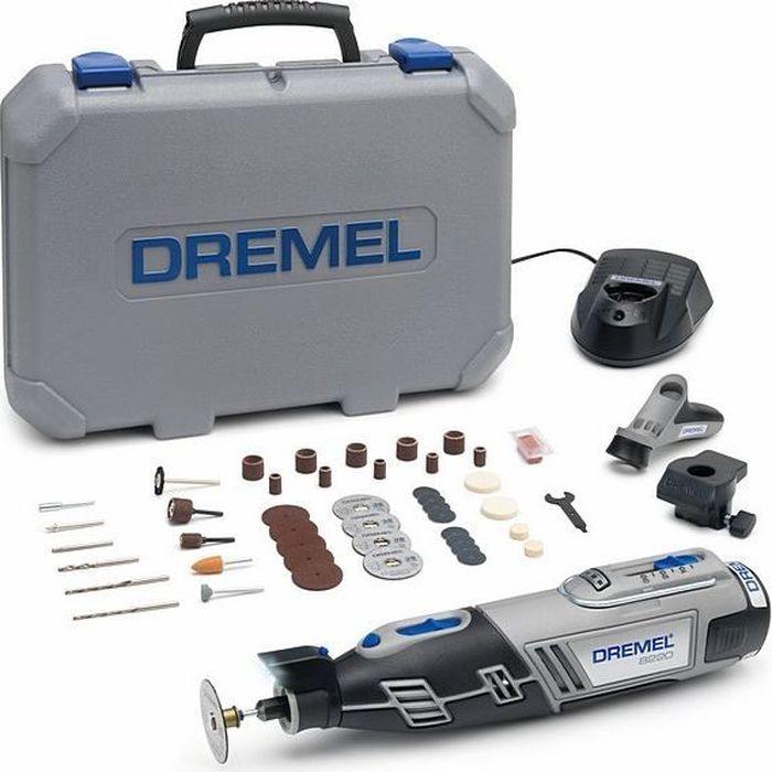 Аккумуляторный многофункциональный инструмент Dremel 8220-2/45, 12V, 1 АКБ, ЗУ. F0138220JJF0138220JJDremel 8220-2/55 - средняя модель в линейке беспроводных инструментов Dremel 8220. Максимальная портативная мощность с Li-Ion аккумулятором!Выполняйте любые проекты как внутри, так и снаружи дома с помощью одного инструмента. Светодиодная подсветка освещает рабочую зону и позволяет работать даже в плохо освещенных местах. Переходите от резки и шлифовки к абразивной обработке, просто сменив насадку, и будьте уверены в высочайшей точности выполнения работ. Аккумулятор и зарядное устройство полностью совместимы с линейкой Bosch 10.8 / 12 V Li-Ion инструмента для домашних мастеров и садовой техники! Технические характеристики: Напряжение аккумулятора: 12,0 В. Емкость аккумулятора: 2,0 Ач.Время зарядки: 1 ч. Регулировка скорости. Система быстрой смены принадлежностей EZ Twist. В комплектацию входят 45 насадок Dremel, 2 приставки, 1 АКБ Li-Ion 12В 2 А/ч, зарядное устройство, пластмассовый кейс.Как выбрать мультитул. Статья OZON Гид