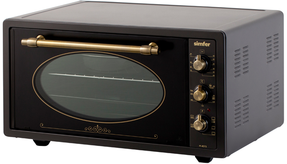 Simfer M4573 мини-печьM4573Полезный объем для приготовления блюд 45 л Мультифункциональная духовка 6 режимов работы Функции - нижний нагрев, нижний + верхний нагрев, нижний + верхний нагрев + конвекцияМеханическое управление Таймер на 90 мин Акустический сигнал окончания времени приготовления при работе таймера Термостат (t нагрева 0-250С)Дверца - двойное стекло Комплектация: 2 противня (стандартный и глубокий с антипригарным покрытием), хромированная решетка