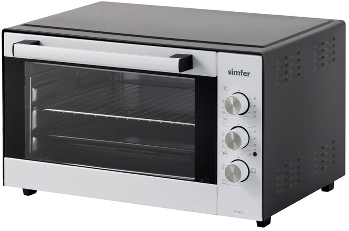 Simfer M 3520 мини-печьM3520Мини печь Simfer M 3520 объемом 35 литров недорогая и надежная помощница для дачи, или небольших помещений, где важен каждый сантиметр пространства. Печь с 3-мя режимами работы духовки, с регулированием температуры до 240 градусов и механическим таймером позволит качественно и быстро приготовить большинство блюд, будь то пицца или курица.Корпус мини-печи окрашен черной термостойкой эмалью, выдерживающей высокие температуры, а фасад выполнен в белом цвете. Эргономичная ручка дверцы, с внутренней стороны покрыта силиконовой теплоизоляцией, что не позволяют ей нагреваться. Внутренняя поверхность духовки изготовлена из анодированной стали, которая устойчива к механическим повреждениям и коррозии. Три рельефных направляющих дают возможность установить решетку или противень на необходимый уровень, для равномерного запекания блюд. Комплект прибора состоит из прямоугольного противня и решетки. Противень имеет гладкие закругленные края, что исключают возможность порезов. Ножки мини-печи оснащены силиконовыми вставками, которые препятствуют скольжению прибора, и оберегает вашу мебель от царапин.Обращение с мини-печью легко и просто, управление осуществляется с помощью 3-х регуляторов.Верхний переключатель задает выбор температуры приготовления до 240 градусов. Механический таймер позволит выбрать интервал до 90 минут, а нижний регулятор отвечает за режимы духовой камеры.Мини-печь Simfer M3520 это недорогая и компактная альтернатива стационарной плите, которая будет радовать владельца безотказной работой. Загрузить обзор мини-печи