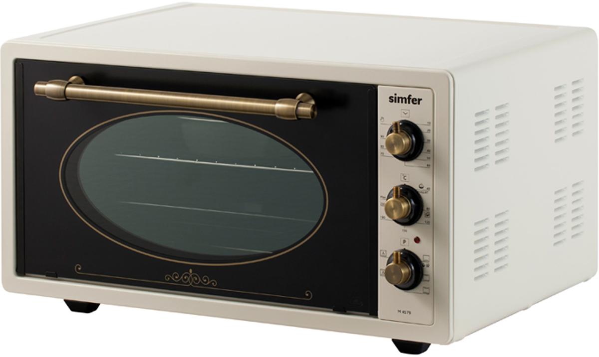 Simfer M 4579 мини-печьM4579Мини печь Simfer M 4579 объемом 45 литров изготовлена в ретро стиле с фурнитурой цвета бронзы. Полная потребляемая мощность прибора 1400 Вт. Печь с пятью режимами работы духовки, с регулировкой температуры до 240 градусов и механическим таймером, полностью удовлетворит потребности взыскательных хозяек, а функция гидроочистки камеры даст возможность легко содержать мини-печь в чистоте. Ценителям здорового образа жизни специальный режим мини-печи позволит приготовить дома разнообразные йогурты и другие кисло-молочные продукты.Корпус мини-печи окрашен в благородный светло-бежевый цвет термостойкой эмалью. Массивная бронзовая ручка дверцы и регуляторы панели управления подчеркивают классический дизайн мини-печи. Внутренняя поверхность духовки покрыта эмалью легкой очистки, устойчивой к механическим повреждениям и коррозии. Три рельефных направляющих позволят установить решетку или противень на необходимый уровень, для равномерного запекания блюд. Двойное стекло дверцы и контурный уплотнитель обеспечат безопасное пользование печью, помогают сократить время приготовления , и затраты на электроэнергию. Комплект прибора состоит из решетки, прямоугольного и круглого противня. Ножки мини-печи оснащены силиконовыми вставками, которые препятствуют скольжению прибора и оберегает вашу мебель от царапин.Обращение с мини-печью легко и просто, управление осуществляется с помощью 3-х регуляторов.Верхний переключатель задает выбор температуры приготовления до 240 градусов. Механический таймер позволяет выбрать интервал до 90 минут, а нижний регулятор отвечает за режимы духовой камеры. Мини-печь Simfer M4579 незаменимая помощница в кулинарном творчестве владельца. Загрузить обзор мини-печи