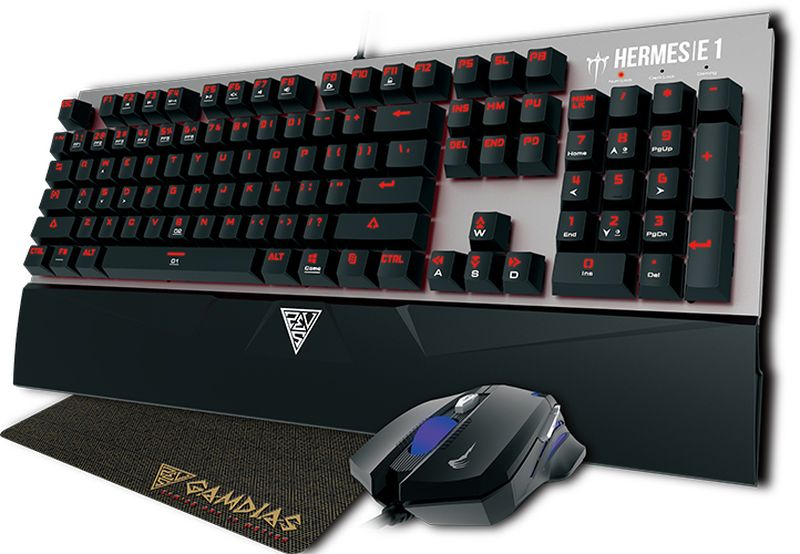 Gamdias Hermes E1, Black комплект игровая мышь + клавиатураGM-GKHE1bkGamdias-сертифицированные механические свичи (Brown/Black)Две программируемые макро-клавишиШесть пользовательских профилейAnti-ghosting 21 клавишаСветодиодная подсветкаМЫШЬ DEMETER E2Дышащая RGB-подсветкаОптический сенсор 3200 DPIЭргономичный дизайнКОВРИК NYX E1Отлично подходит для лазерных и оптических мышей100% резинаКомпактный размер