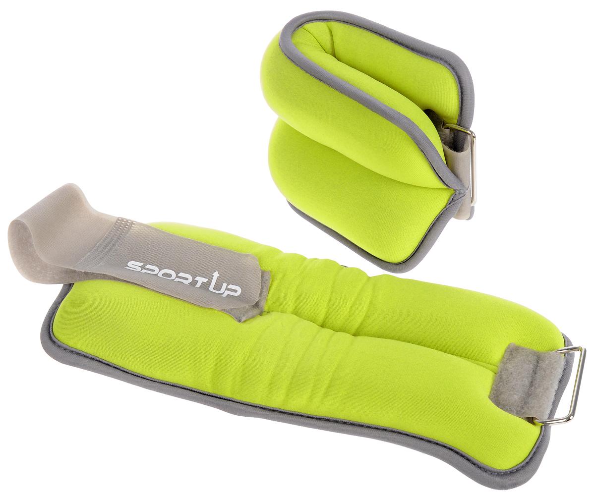 Утяжелители Sport UP для рук и ног, цвет: серый, салатовый, 1 кг, 2 штIR97811/1 kgБезразмерные утяжелители Sport UP легко фиксируются при помощи крепежного ремешка на липучке. Они изготовлены из износостойкого неопрена и наполнены металлической стружкой. Внутри отделаны мягкой, хорошо впитывающей тканью. Утяжелителя имеют светоотражающие элементы для безопасных занятий на открытом воздухе. Идеальны в использовании при беге трусцой, занятиях аэробикой, оздоровительной гимнастикой и фитнесом. Мягкий материал надежно облегает, давая вместе с тем ощущение свободы рукам - у вас отпадает необходимость держать гантели или гири для создания усилий во время тренировок. Утяжелители имеют компактный размер и не займут много места при хранении и переноске. Удобный современный дизайн, приятное цветовое оформление и качество самих утяжелителей будут несомненно радовать вас во время тренировок!