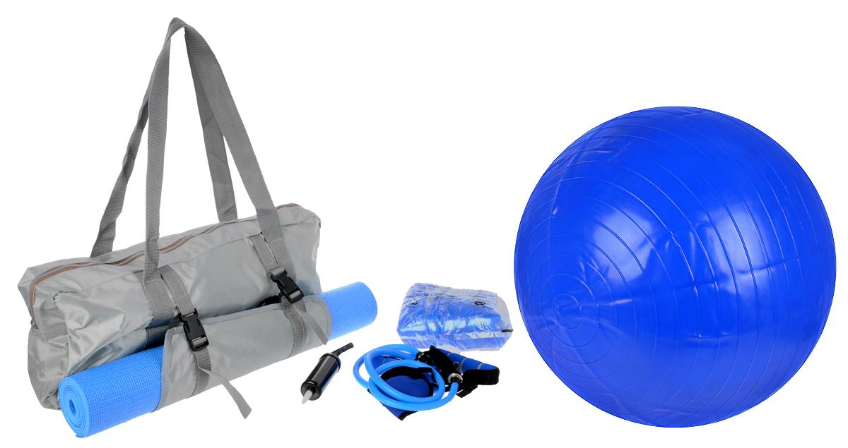 Набор для йоги Sport UP, 6 предметовIR97622Набор для йоги Sport UP состоит из коврика, фитбола и эспандера. Также в комплекте сумка для хранения и маска. К фитболу прилагается ручной насос. Коврик для йоги выполнен из ПВХ с покрытием EBA. Фитбол выполнен из ПВХ.Эспандер изготовлен из термопластика, полипропилена и синтетического каучука, маска и сумка из 100% полиэстера. Сумка закрывается на застежку молнию и имеет две удобные ручки для переноски и отделение для коврика на резинках и пластиковых защелках.Размер коврика: 180 х 50 х 0,4 см.Диаметр фитбола: 65 см.Размер маски: 18,5 х 8,5 см.Длина эспандера с учетом ручек (в нерастянутом виде): 145 см.Размер сумки: 60 х 24 х 10 см.