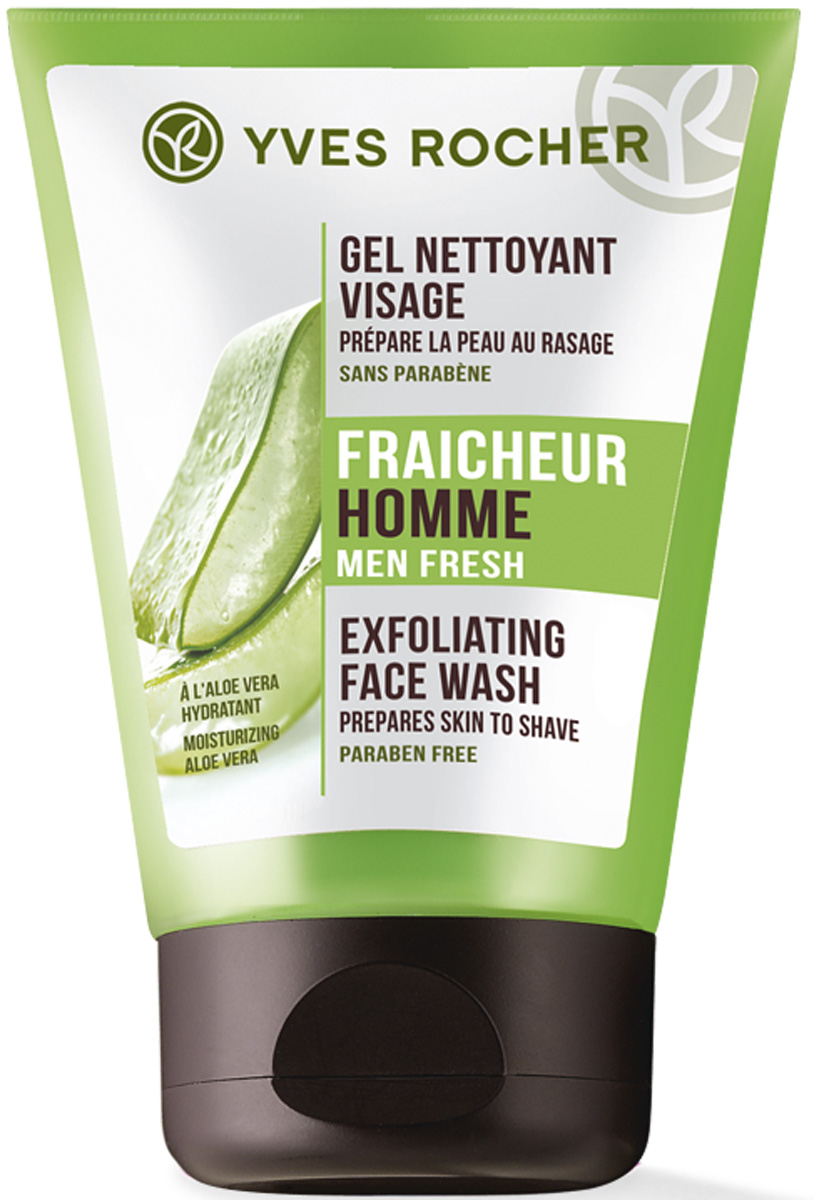 Yves Rocher очищающий гель для лица, 100 мл02067Мгновенное ощущение свежести благодаря Очищающему Гелю для Лица' обогащенному Алоэ Вера БИО с увлажняющими свойствами. Микрогранулы Бамбука подготавливают кожу к бритью и очищают поры.