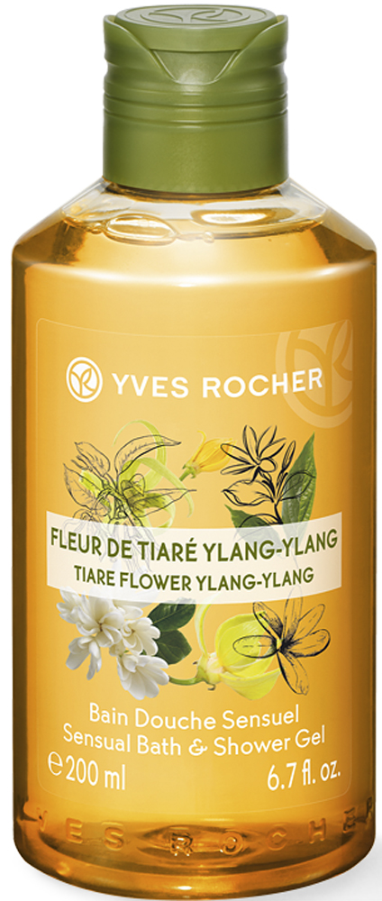Yves Rocher гель для душа и ванны Тиаре и иланг-иланг, 200 мл30223Ученые-Эксперты Марки Ив Роше выбрали гель Алоэ Вера БИО, экстракт цветка Тиаре и эфирное масло Иланг-Иланга для создания геля для душа. Превращаясь в воздушную пену, гель нежно очищает кожу, окутывая ее чувственным и волнующим ароматом Тиаре и Иланг-Иланга. Подарите себе заряд энергии и моменты истинного наслаждения!Его преимущество:- Моющая основа растительного происхождения- Биоразлагаемая формула - Формула содержит более 98% компонентов натурального происхождения- Флакон подлежит вторичной переработке и содержит переработанный пластик- Без этоксилатов и парабенов.