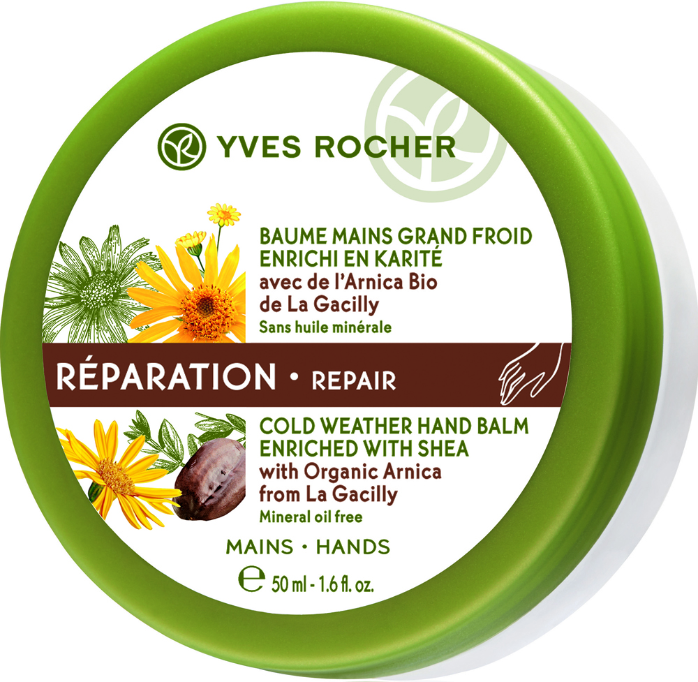 Yves Rocher восстанавливающий бальзам для рук с арникой, 50 мл31161Восстанавливающий Бальзам для Рук с Арникой питает и эффективно восстанавливает очень сухую и поврежденную кожу рук благодаря экстракту Арники БИО, обладающему защитными свойствами, и маслу Каритэ, известному своими питательными и восстанавливающими свойствами. Уход идеально подходит для использования в холодное время года, когда кожа страдает от обезвоживания, холода и ветра.Тающая текстура бальзама быстро впитывается, оставляя на коже легкий растительный аромат.Кожа Ваших рук восстановлена и защищена. Избавленная от сухости и трещинок, она вновь обретает ощущение комфорта, становится нежной, ухоженной и красивой.Его +: Формула без минеральных масел.Как ухаживать за ногтями: советы эксперта. Статья OZON Гид