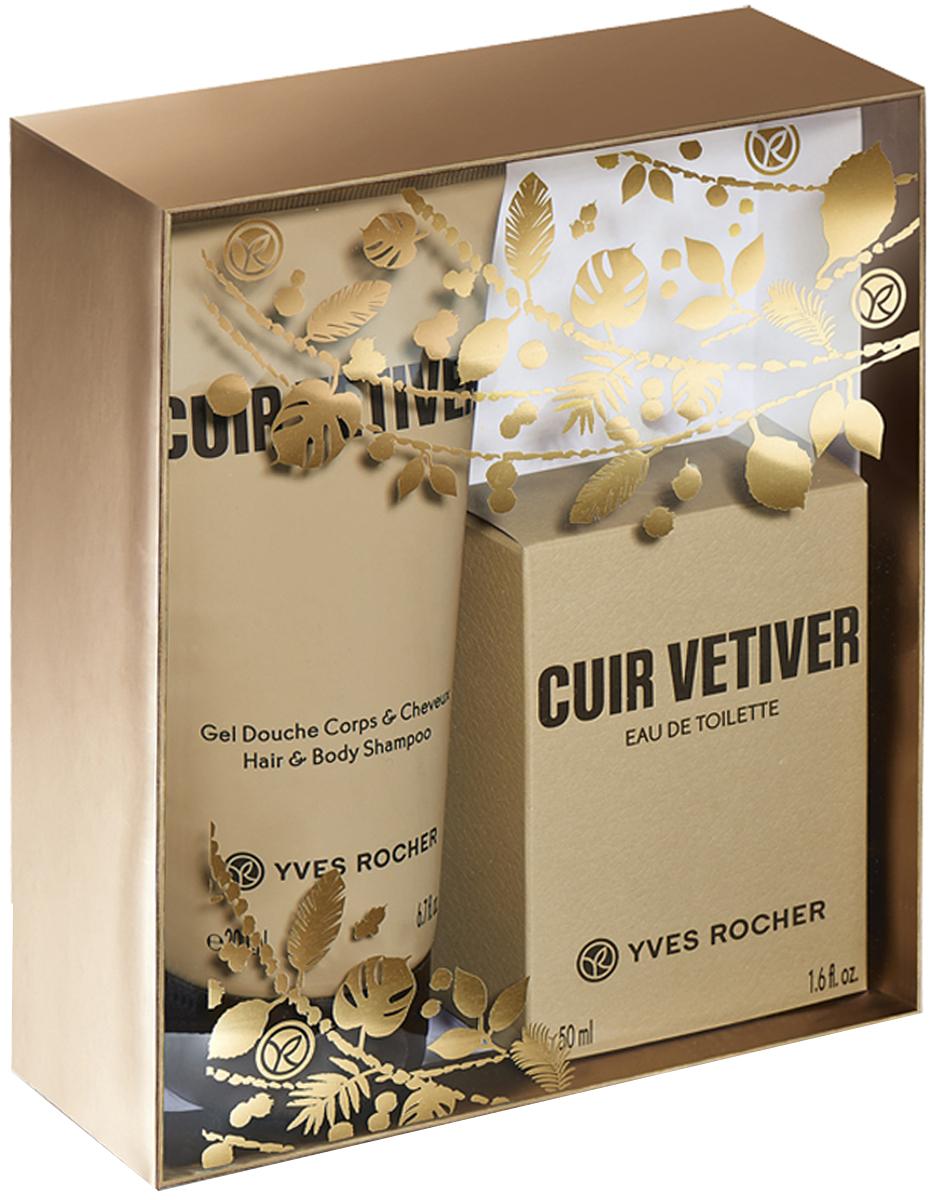 Yves Rocher набор Cuir Vetiver: туалетная вода Cuir Vetiver, 50 мл и парфюмированный гель для тела и волос Cuir Vetiver, 200 мл00045Туалетная Вода «Cuir Vetiver», 50 мл Чувственный аромат с кожано-древесными нотками. Аромат Ветивера словно соткан из противоречий: одновременно мощный и сдержанный, брутальный и благородный, но всегда неизменно элегантный. Он привносит в аромат холод и теплоту, ноты земли и леса. Теплый и древесный аромат эссенции Карибского Сандала раскрывается нотками кожи на протяжении всего звучания аромата, даря ему силу и глубину. Бобы Тонка, это гармоничное сочетание ванильных, миндальных и пудровых ноток. Их мягкость и богатство дарят аромату теплоту и глубину. Парфюмированный Гель для Тела и Волос «Cuir Vetiver», 200 мл Парфюмированный гель подчеркивает кожано-древесный аромат Вашей туалетной воды Cuir Vetiver. Воздушная пена нежно очищает кожу и волосы и оставляет на них чувственный и современный аромат.