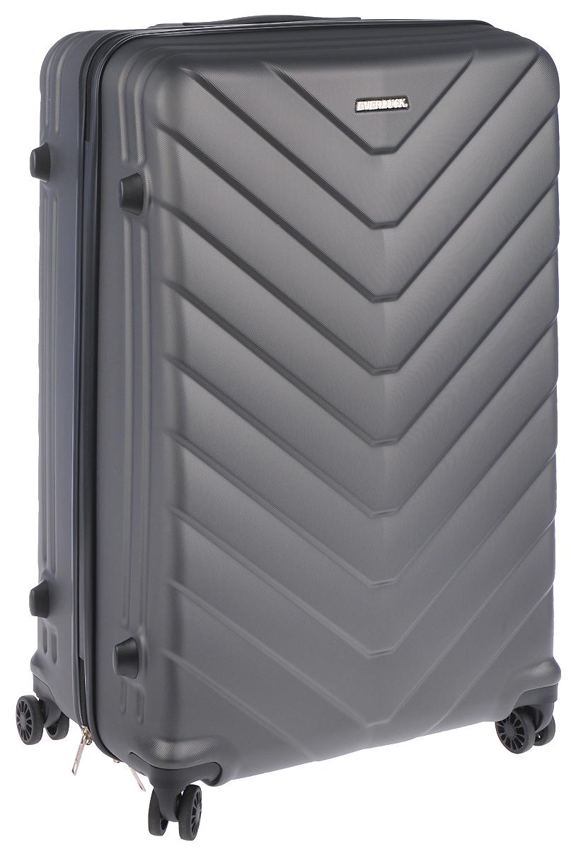 Чемодан пластиковый Everluck, цвет: серый 82 лER/ABS1867 70 cmЧемодан Everluck, выполненный из прочного пластика, прекрасно подойдет для путешествий. Изделие имеет жесткую форму. Материал внутренней отделки - 100% нейлон. Чемодан очень вместителен, он содержит продуманную внутреннюю организацию, которая позволяет удобно разложить вещи и избежать их сминания. Имеется одно большое отделение, закрывающееся по периметру на застежку-молнию с двумя бегунками. Большое отделение для хранения одежды оснащено перекрещивающимися багажными ремнями, которые соединяются при помощи пластикового карабина. Также внутри имеется 2 кармана на молнии и одно дополнительное небольшое отделение на молнии. Для удобной перевозки чемодан оснащен четырьмя маневренными колесами, которые обеспечивают легкость перемещения в любом направлении. Телескопическая ручка выдвигается нажатием на кнопку и фиксируется в трех положениях. Под ручкой расположен выдвижной ярлычок с полем для записи данных о владельце. Сверху и сбоку предусмотрена ручка для поднятия чемодана. Сбоку имеются четыре пластиковые ножки.Чемодан оснащен кодовым замком, который исключает возможность взлома.Чемодан Everluck идеально подходит для поездок и путешествий. Он вместит все необходимые вещи и станет незаменимым аксессуаром во время поездок. Размер чемодана: 47 x 28 х 70 см. Высота чемодана (с учетом колес и максимально выдвинутой ручки): 104 см. Максимальная высота выдвижной ручки: 37 см. Минимальная высота выдвижной ручки: 21 см. Диаметр колеса: 4,5 см.Объем чемодана: 82 л.