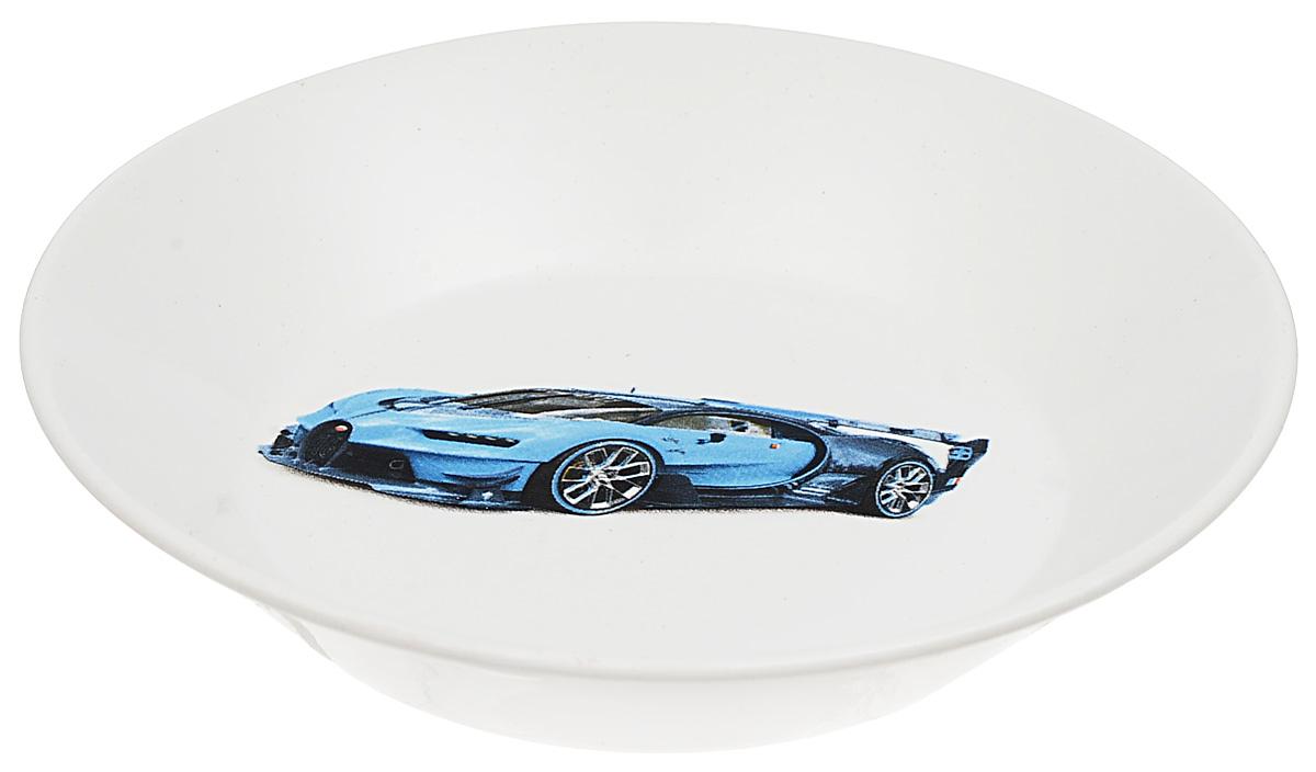 Блюдце Кубаньфарфор Гонки, цвет: синий, диаметр 14 см
