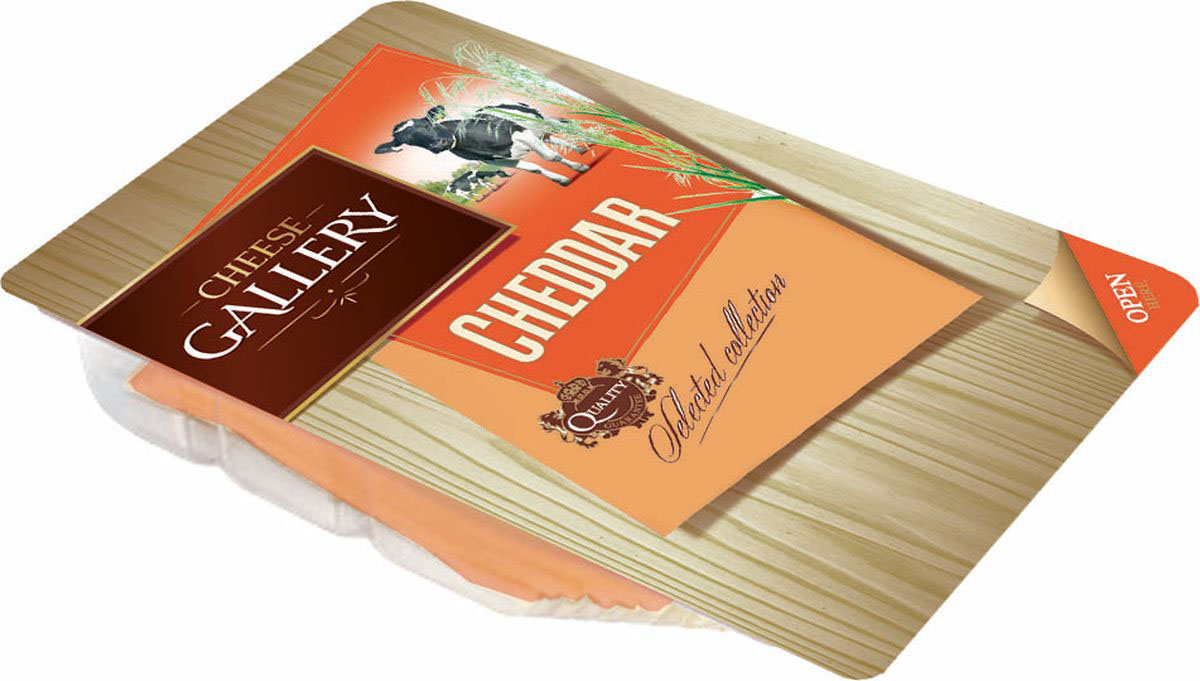 Cheese Gallery Сыр Чеддер красный, 45%, нарезка, 150 г cheese gallery