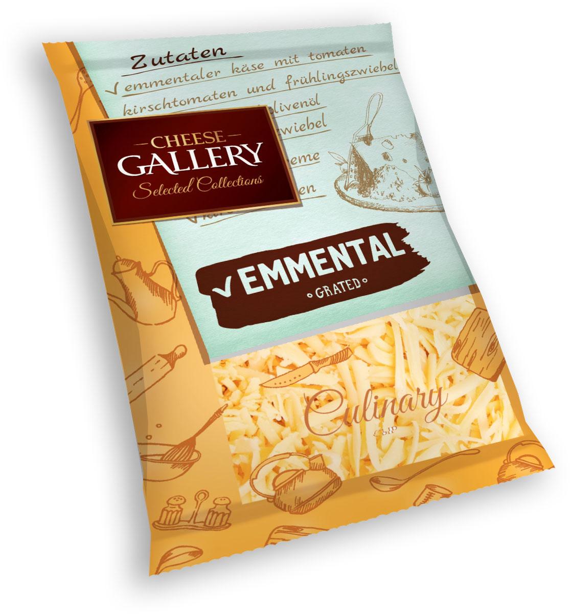 Cheese Gallery Сыр Эмменталь, 50%, тертый, 150 г105-796Визитная карточка сыра Эмменталь – это большие дырки-глазки и несравненный пикантный, пряный сладковатый вкус Твердый сыр Эмменталь используется для приготовления разнообразных салатов, десертов и вторых блюд: сыр хорошо плавится Для экономии