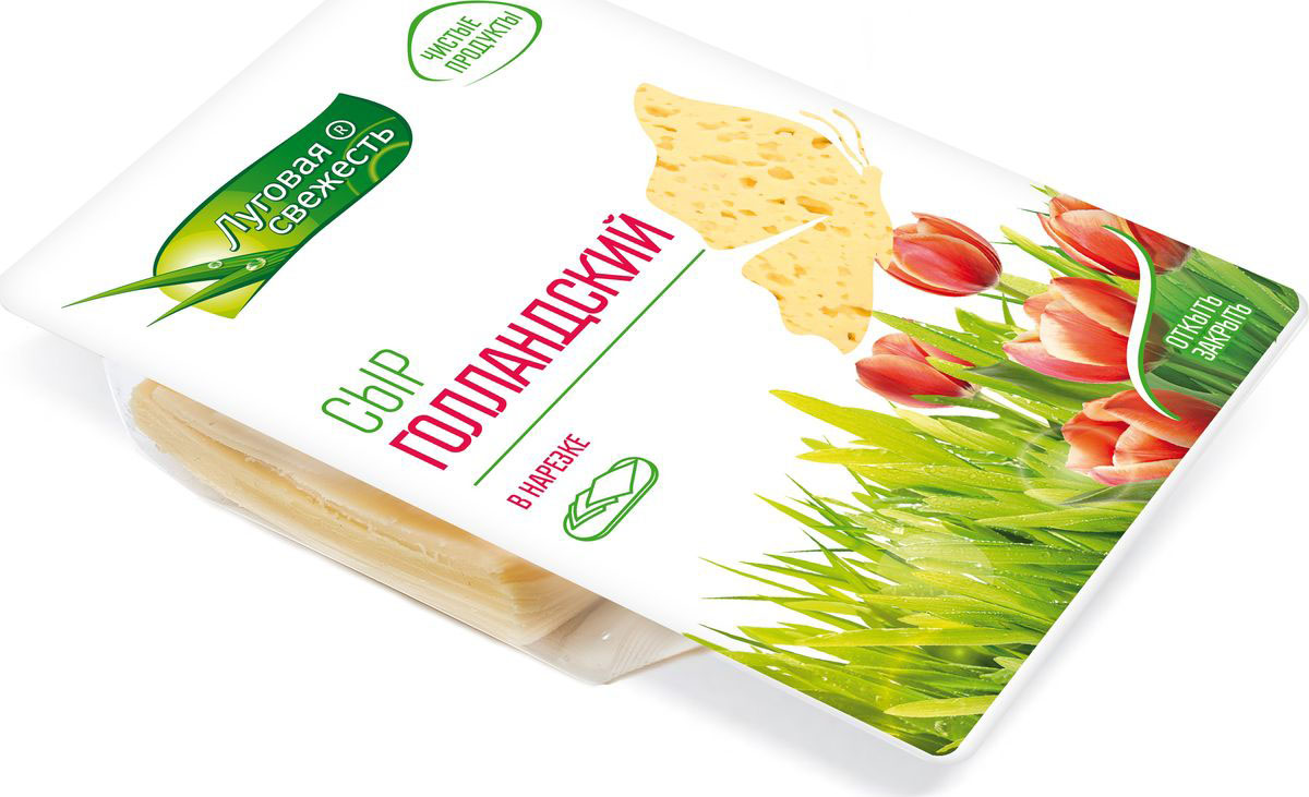 Луговая Свежесть Сыр Голландский, 45%, нарезка, 380 г175-504Сыр голландский относится к полутвердым сортам сыра, обладает приятным молочным вкусом, с характерной остротой и кислинкой Сыр упакован с применением защитной атмосферы, за счет чего сыр сохраняет все свои полезные свойства на протяжении всего срока годности Пищевая ценность продукта: жиры - 26,9 г белки - 26 г г Калорийность сыра 353 ккал