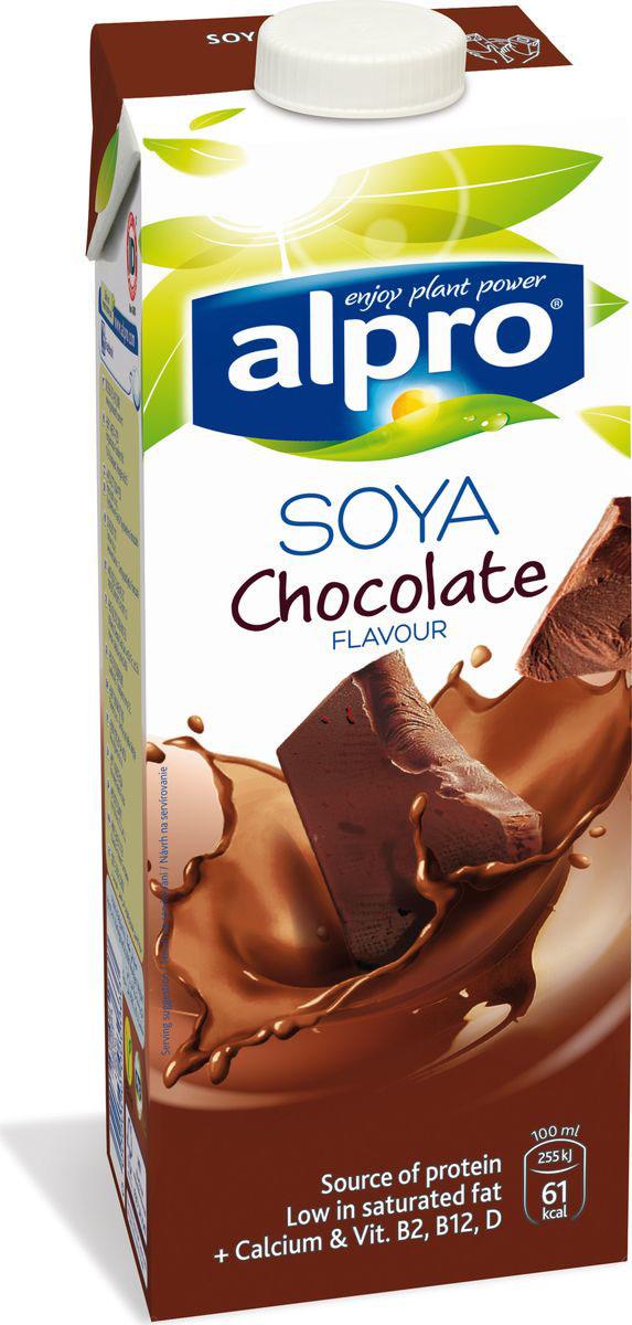 Alpro Соевый напиток со вкусом Шоколада обогащенный кальцием и витаминами, 1 л волшебница золотой орех шоколад темный с миндалем 190 г