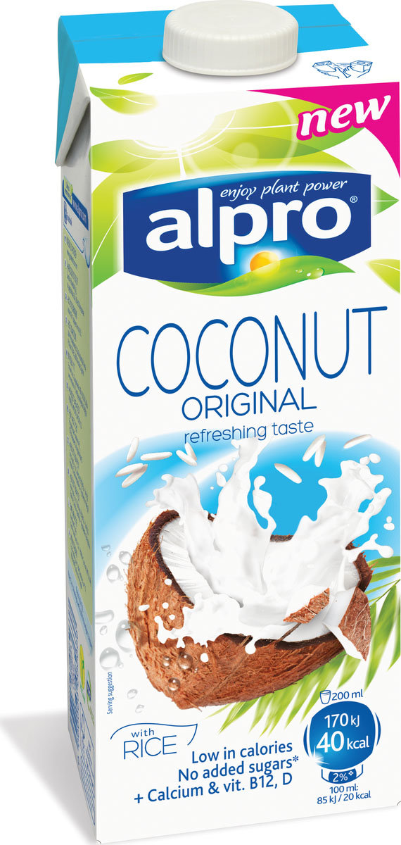 Alpro Кокосовый напиток с Рисом, обогащенный кальцием и витаминами, 1 л напиток mychoice nutrition my fitness l carnitine 2700 shot клубника 9 x 60 мл
