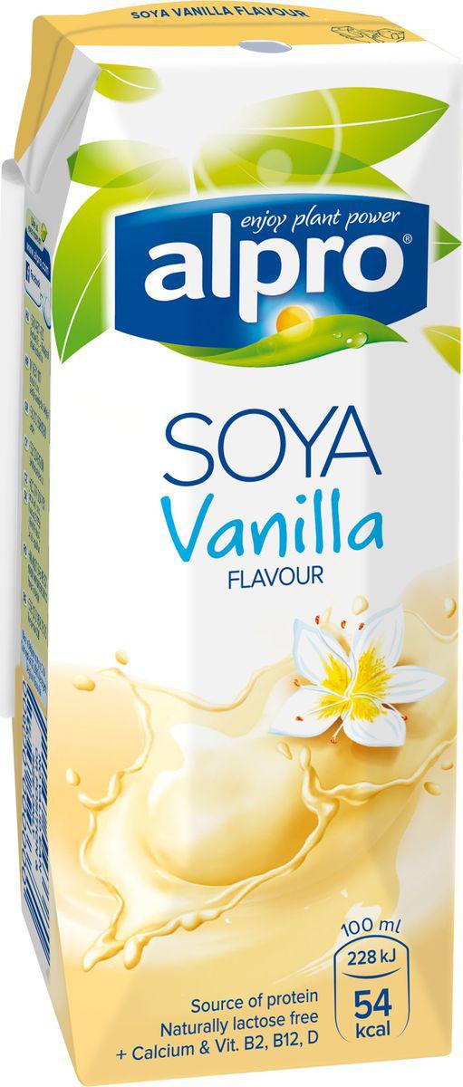 Alpro Соевый напиток со вкусом Ванили, обогащенный кальцием и витаминами, 0,25л670-211Ванильный напиток Alpro - это неповторимое сочетание сои и нежной ванили. Теперь наслаждаться любимымвкусом стало еще проще, так как ванильный Alpro содержит на 30 % меньше сахара чем аналогичные напитки наоснове молока. Источник кальция и витаминов B2, B12 и D.Пищевая ценность в 100 мл продукта:жиры - 1,7 г., белки - 3,0 г., углеводы - 6,5 г.Энергетическая ценность в 100 мл продукта: 54 Ккал.