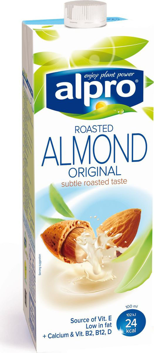 Alpro Миндальный напиток, обогащенный кальцием и витаминами, 1 л hulala напиток миндальный с сахаром ультравысокопастеризованный 1 кг