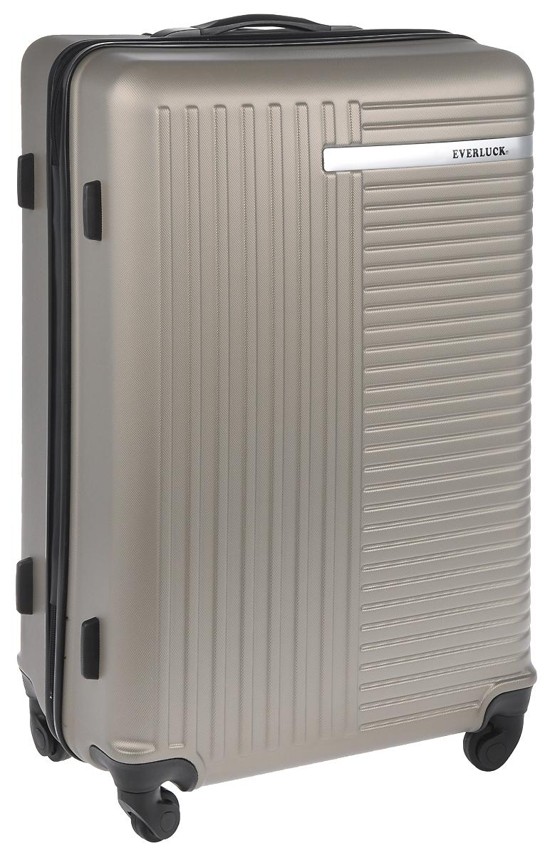 Чемодан пластиковый Everluck, цвет: серо-бежевый, 82 л. ER/ABS1872 чемодан samsonite чемодан 55 см lite biz