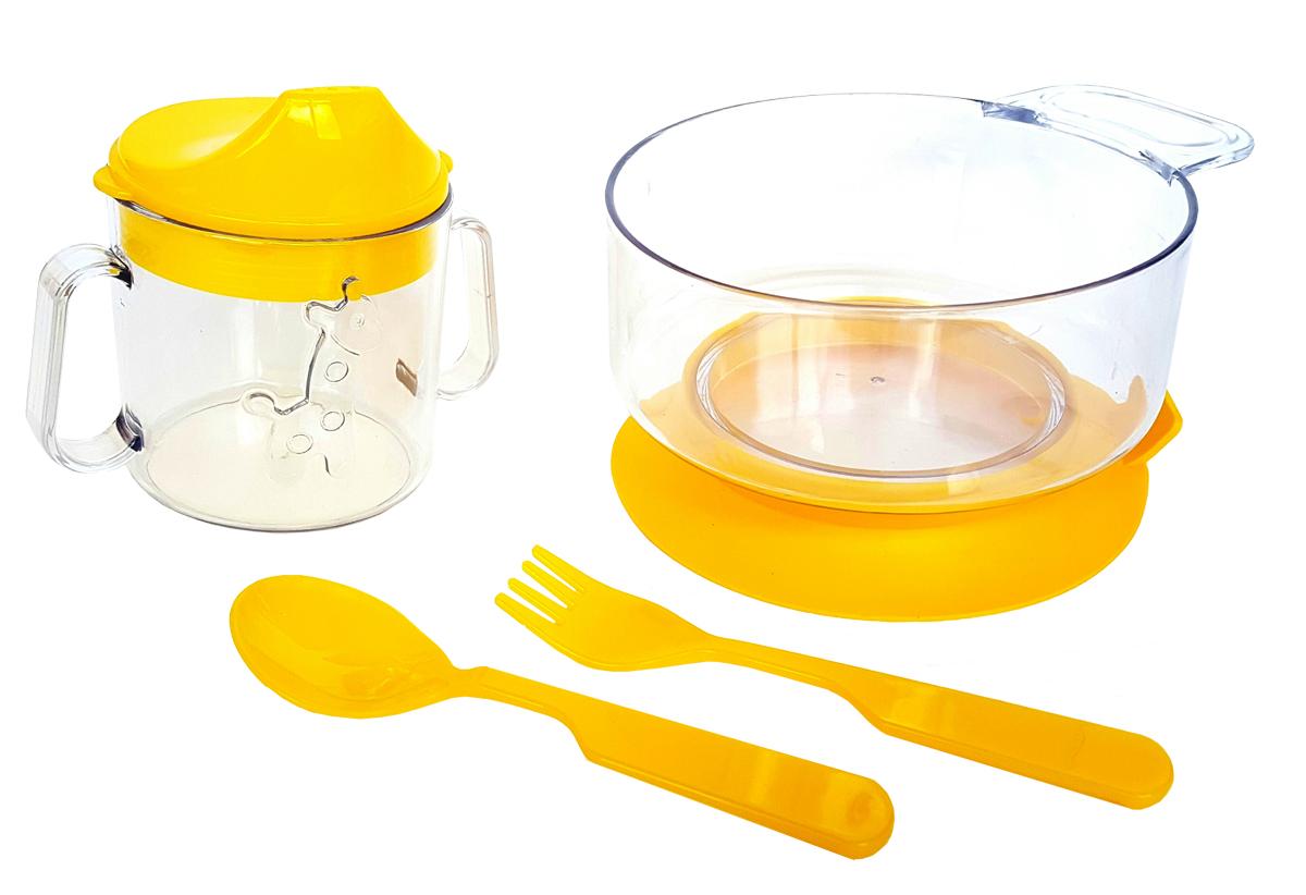 Набор посуды из 4-х предметов, идеальный для начала самостоятельного питания малыша. Произведено в России из безопасного пищевого пластика. Форма изготовлена по лучшим европейским технологиям. Кружка-поильник 180 мл с объемной фигуркой, эргономичные и безопасные ложка-вилка. Глубокая тарелка с ручкой на съемной присоске предотвращает скольжение по столу и переворачивание. Яркие цвета и объемная фигурка зверюшки обеспечивают интерес ребенка и удовольствие от кормления. Можно мыть в посудомоечной машине и ставить в СВЧ (снять присоску с тарелки!).