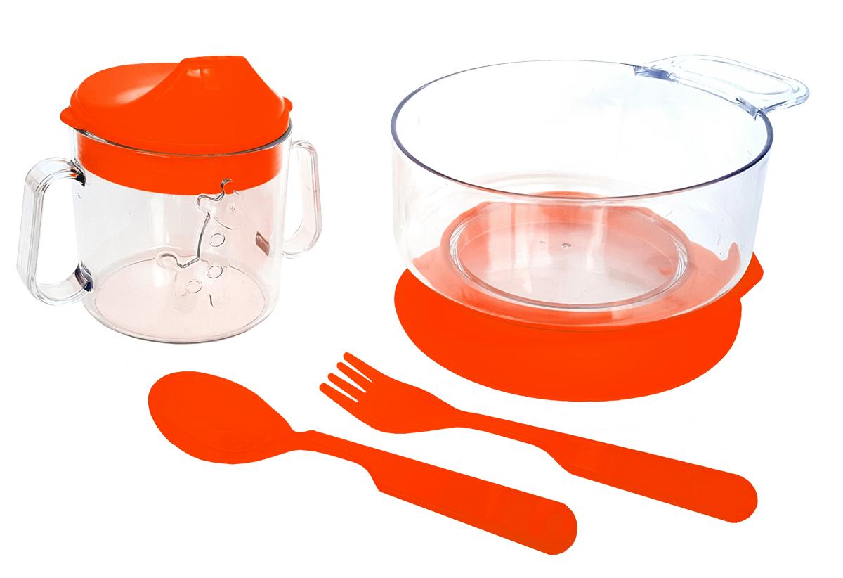 Набор детской посуды цвет красный 4 предмета 11111302132Набор посуды из 4-х предметов, идеальный для начала самостоятельного питания малыша. Произведено в России из безопасного пищевого пластика. Форма изготовлена по лучшим европейским технологиям. Кружка-поильник 180 мл с объемной фигуркой, эргономичные и безопасные ложка-вилка. Глубокая тарелка с ручкой на съемной присоске предотвращает скольжение по столу и переворачивание. Яркие цвета и объемная фигурка зверюшки обеспечивают интерес ребенка и удовольствие от кормления. Можно мыть в посудомоечной машине и ставить в СВЧ (снять присоску с тарелки!).