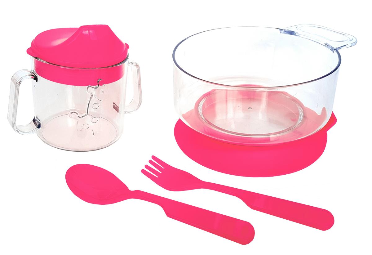 Набор детской посуды цвет розовый 4 предмета 1111 lubby набор для кормления классика ложка и вилка от 4 месяцев