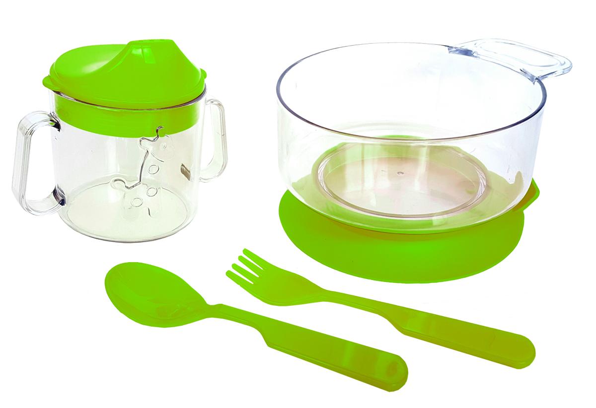 Набор детской посуды цвет салатовый 4 предмета 11111111салатНабор посуды из 4-х предметов, идеальный для начала самостоятельного питания малыша. Произведено в России из безопасного пищевого пластика. Форма изготовлена по лучшим европейским технологиям. Кружка-поильник 180 мл с объемной фигуркой, эргономичные и безопасные ложка-вилка. Глубокая тарелка с ручкой на съемной присоске предотвращает скольжение по столу и переворачивание. Яркие цвета и объемная фигурка зверюшки обеспечивают интерес ребенка и удовольствие от кормления. Можно мыть в посудомоечной машине и ставить в СВЧ (снять присоску с тарелки!).