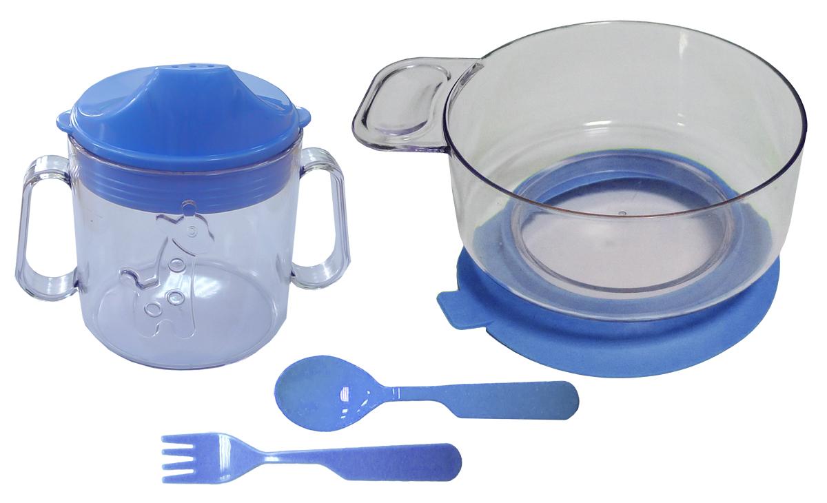 Набор детской посуды цвет синий 4 предмета 11111627367Набор посуды из 4-х предметов, идеальный для начала самостоятельного питания малыша. Произведено в России из безопасного пищевого пластика. Форма изготовлена по лучшим европейским технологиям. Кружка-поильник 180 мл с объемной фигуркой, эргономичные и безопасные ложка-вилка. Глубокая тарелка с ручкой на съемной присоске предотвращает скольжение по столу и переворачивание. Яркие цвета и объемная фигурка зверюшки обеспечивают интерес ребенка и удовольствие от кормления.Можно мыть в посудомоечной машине и ставить в СВЧ (снять присоску с тарелки!).