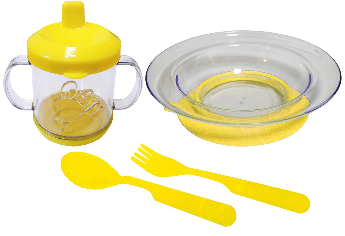 Набор детской посуды цвет желтый 4 предмета 11121112желтНабор посуды из 4-х предметов, идеальный для начала самостоятельного питания малыша. Произведено в России из безопасного пищевого пластика. Форма изготовлена по лучшим европейским технологиям. Кружка-поильник 225 мл с объемной фигуркой, эргономичные и безопасные ложка-вилка. Глубокая тарелка на съемной присоске предотвращает скольжение по столу и переворачивание. Яркие цвета и объемная фигурка зверюшки обеспечивают интерес ребенка и удовольствие от кормления. Можно мыть в посудомоечной машине и ставить в СВЧ (снять присоску с тарелки!).Тарелка х 1шт; Кружка-поильник 225 мл х 1 шт; Вилка для малыша дошкольного возраста х 1 шт; Ложка для малыша дошкольного возраста х 1 шт.