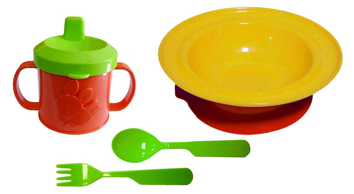 Набор детской посуды цвет желтый 4 предмета272006Набор посуды из 4-х предметов, идеальный для начала самостоятельного питания малыша. Произведено в России из безопасного пищевого пластика. Форма изготовлена по лучшим европейским технологиям. Кружка-поильник 225 мл с удобными ручками и объемной фигуркой, эргономичные и безопасные ложка-вилка. Глубокая тарелка на съемной присоске предотвращает скольжение по столу и переворачивание. Яркие цвета и объемная фигурка зверюшки обеспечивают интерес ребенка и удовольствие от кормления. Можно мыть в посудомоечной машине и ставить в СВЧ (снять присоску с тарелки!).