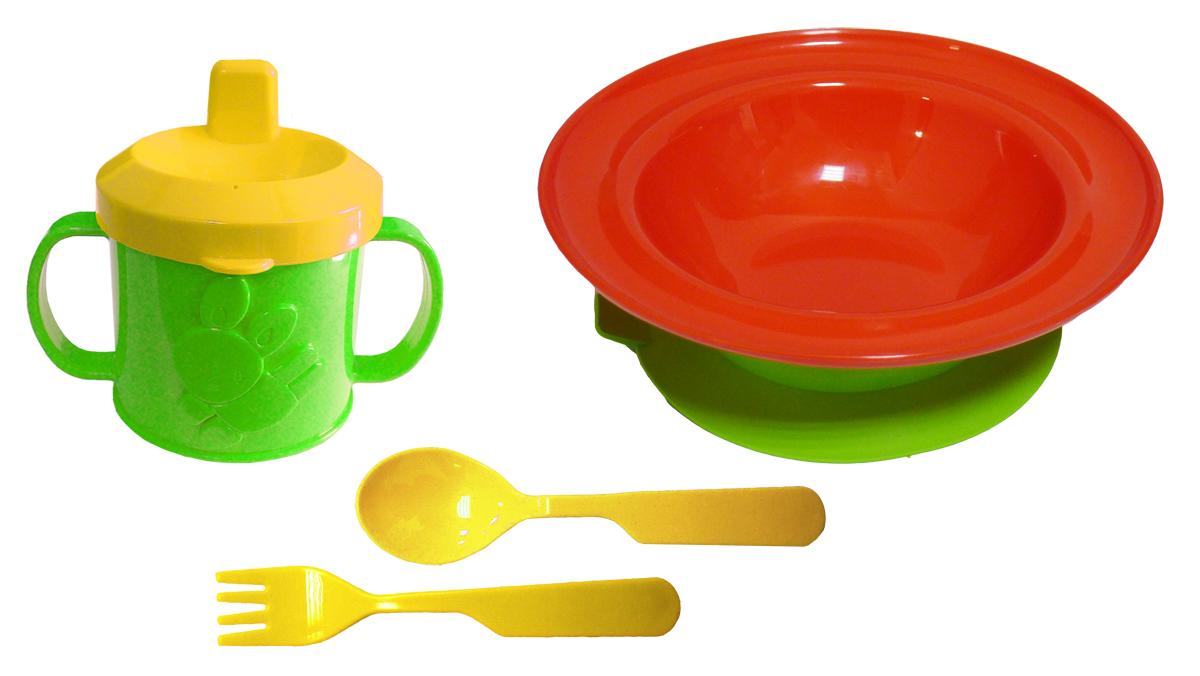 Набор детской посуды цвет красный 4 предмета76605Набор посуды из 4-х предметов, идеальный для начала самостоятельного питания малыша. Произведено в России из безопасного пищевого пластика. Форма изготовлена по лучшим европейским технологиям. Кружка-поильник 225 мл с удобными ручками и объемной фигуркой, эргономичные и безопасные ложка-вилка. Глубокая тарелка на съемной присоске предотвращает скольжение по столу и переворачивание. Яркие цвета и объемная фигурка зверюшки обеспечивают интерес ребенка и удовольствие от кормления. Можно мыть в посудомоечной машине и ставить в СВЧ (снять присоску с тарелки!).