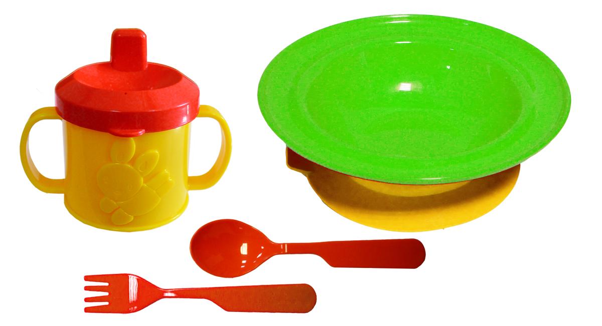 Набор детской посуды цвет салатовый 4 предмета lubby набор для кормления классика ложка и вилка от 4 месяцев