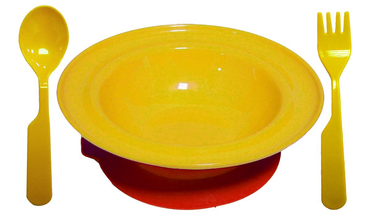 Набор детской посуды цвет желтый 3 предмета