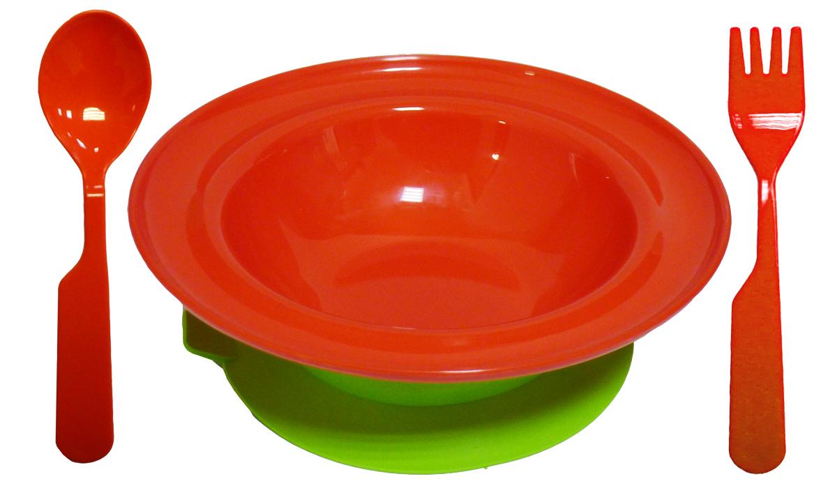 Набор посуды из 3-х предметов, идеальный для начала самостоятельного питания малыша. Произведено в России из безопасного пищевого пластика. Форма изготовлена по лучшим европейским технологиям. Эргономичные и безопасные ложка-вилка. Глубокая тарелка на съемной присоске предотвращает скольжение по столу и переворачивание. Яркие цвета и удобная форма обеспечивают удовольствие от кормления. Можно мыть в посудомоечной машине и ставить в СВЧ (снять присоску с тарелки!).