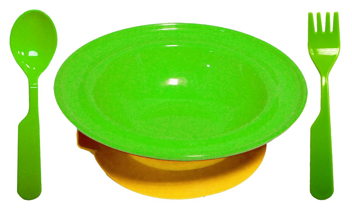 Набор детской посуды цвет салатовый 3 предмета1212салатНабор посуды из 3-х предметов, идеальный для начала самостоятельного питания малыша. Произведено в России из безопасного пищевого пластика. Форма изготовлена по лучшим европейским технологиям. Эргономичные и безопасные ложка-вилка. Глубокая тарелка на съемной присоске предотвращает скольжение по столу и переворачивание. Яркие цвета и удобная форма обеспечивают удовольствие от кормления. Можно мыть в посудомоечной машине и ставить в СВЧ (снять присоску с тарелки!).Тарелка х 1шт; Вилка для малыша дошкольного возраста х 1 шт; Ложка для малыша дошкольного возраста х 1 шт.