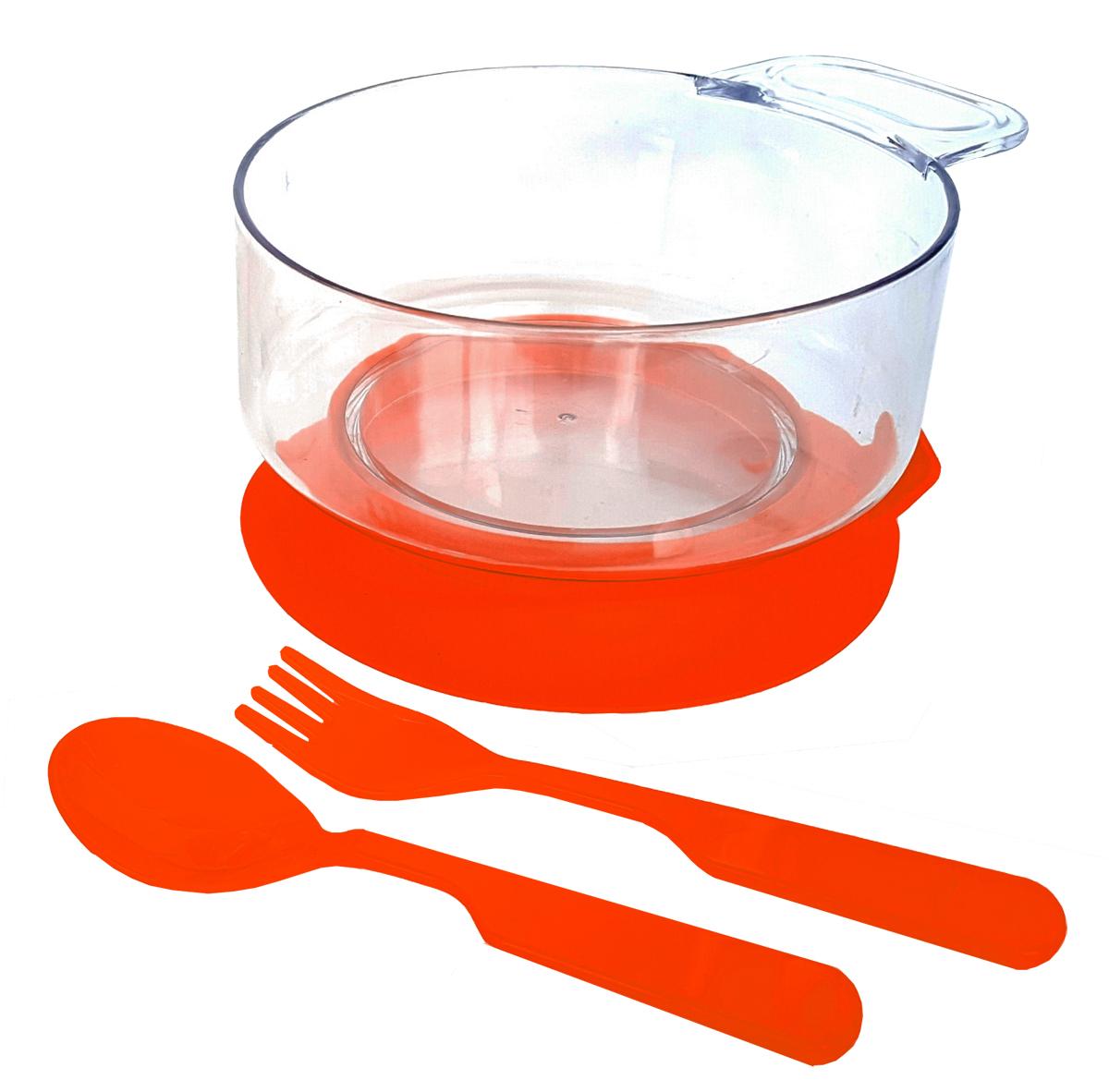 Набор детской посуды цвет красный 3 предмета 12131213краснНабор посуды из 3-х предметов, идеальный для начала самостоятельного питания малыша. Произведено в России из безопасного пищевого пластика. Форма изготовлена по лучшим европейским технологиям. Эргономичные и безопасные ложка-вилка. Глубокая тарелка с ручкой на съемной присоске предотвращает скольжение по столу и переворачивание. Яркие цвета и удобная форма обеспечивают удовольствие от кормления. Можно мыть в посудомоечной машине и ставить в СВЧ (снять присоску с тарелки!).