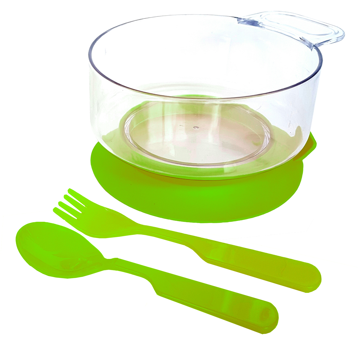 Набор детской посуды цвет салатовый 3 предмета 12131213салатНабор посуды из 3-х предметов, идеальный для начала самостоятельного питания малыша. Произведено в России из безопасного пищевого пластика. Форма изготовлена по лучшим европейским технологиям. Эргономичные и безопасные ложка-вилка. Глубокая тарелка с ручкой на съемной присоске предотвращает скольжение по столу и переворачивание. Яркие цвета и удобная форма обеспечивают удовольствие от кормления. Можно мыть в посудомоечной машине и ставить в СВЧ (снять присоску с тарелки!).Тарелка х 1шт; Вилка для малыша дошкольного возраста х 1 шт; Ложка для малыша дошкольного возраста х 1 шт.