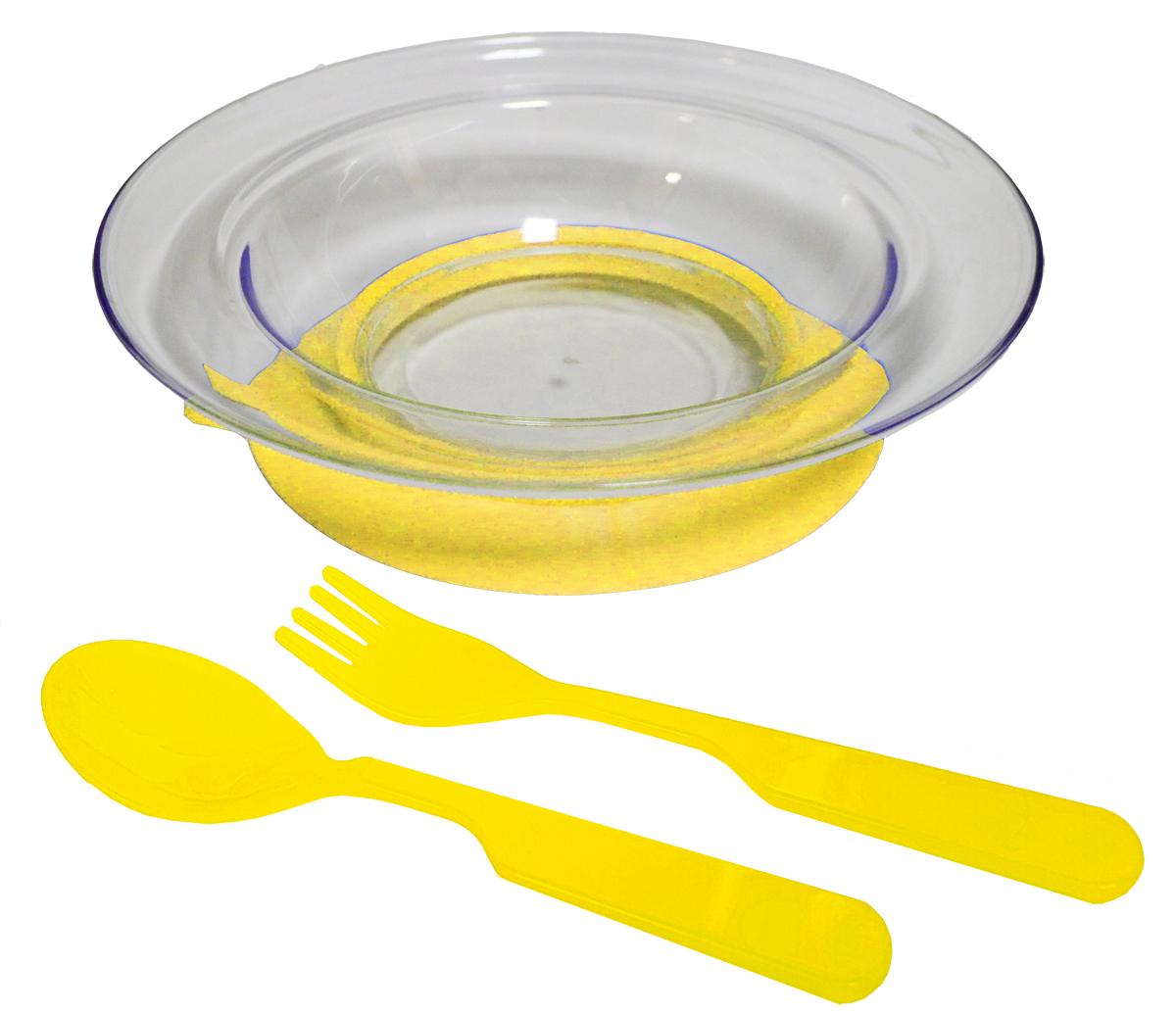 Набор детской посуды цвет желтый 3 предмета 12141214желтНабор посуды из 3-х предметов, идеальный для начала самостоятельного питания малыша. Произведено в России из безопасного пищевого пластика. Форма изготовлена по лучшим европейским технологиям. Эргономичные и безопасные ложка-вилка. Глубокая тарелка на съемной присоске предотвращает скольжение по столу и переворачивание. Яркие цвета и удобная форма обеспечивают удовольствие от кормления. Можно мыть в посудомоечной машине и ставить в СВЧ (снять присоску с тарелки!).Тарелка х 1шт; Вилка для малыша дошкольного возраста х 1 шт; Ложка для малыша дошкольного возраста х 1 шт.