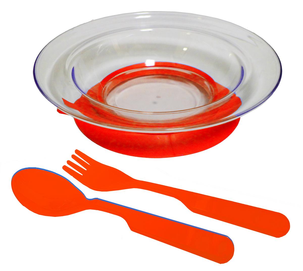 Набор детской посуды цвет красный 3 предмета 12141214краснНабор посуды из 3-х предметов, идеальный для начала самостоятельного питания малыша. Произведено в России из безопасного пищевого пластика. Форма изготовлена по лучшим европейским технологиям. Эргономичные и безопасные ложка-вилка. Глубокая тарелка на съемной присоске предотвращает скольжение по столу и переворачивание. Яркие цвета и удобная форма обеспечивают удовольствие от кормления. Можно мыть в посудомоечной машине и ставить в СВЧ (снять присоску с тарелки!).Тарелка х 1шт; Вилка для малыша дошкольного возраста х 1 шт; Ложка для малыша дошкольного возраста х 1 шт.