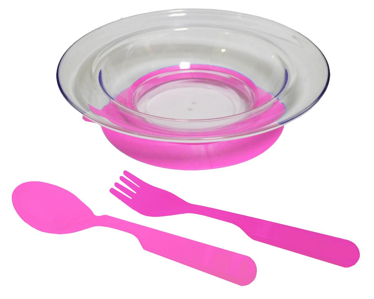 Набор детской посуды цвет розовый 3 предмета 121479615Набор посуды из 3-х предметов, идеальный для начала самостоятельного питания малыша. Произведено в России из безопасного пищевого пластика. Форма изготовлена по лучшим европейским технологиям. Эргономичные и безопасные ложка-вилка. Глубокая тарелка на съемной присоске предотвращает скольжение по столу и переворачивание. Яркие цвета и удобная форма обеспечивают удовольствие от кормления. Можно мыть в посудомоечной машине и ставить в СВЧ (снять присоску с тарелки!).