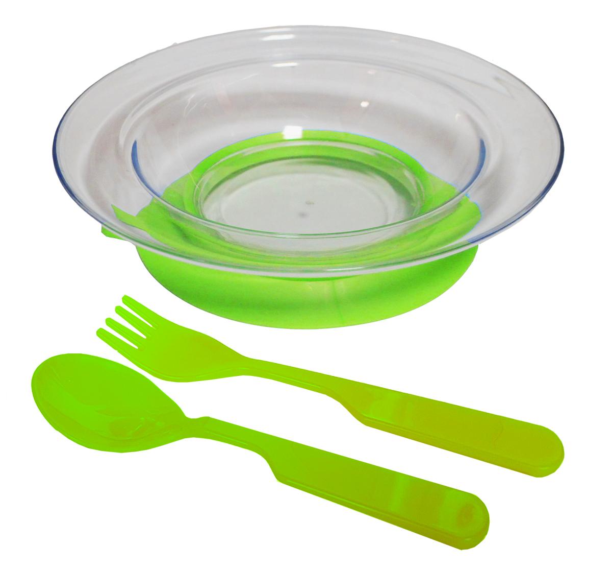 Набор детской посуды цвет салатовый 3 предмета 12141214салатНабор посуды из 3-х предметов, идеальный для начала самостоятельного питания малыша. Произведено в России из безопасного пищевого пластика. Форма изготовлена по лучшим европейским технологиям. Эргономичные и безопасные ложка-вилка. Глубокая тарелка на съемной присоске предотвращает скольжение по столу и переворачивание. Яркие цвета и удобная форма обеспечивают удовольствие от кормления. Можно мыть в посудомоечной машине и ставить в СВЧ (снять присоску с тарелки!).Тарелка х 1шт; Вилка для малыша дошкольного возраста х 1 шт; Ложка для малыша дошкольного возраста х 1 шт.