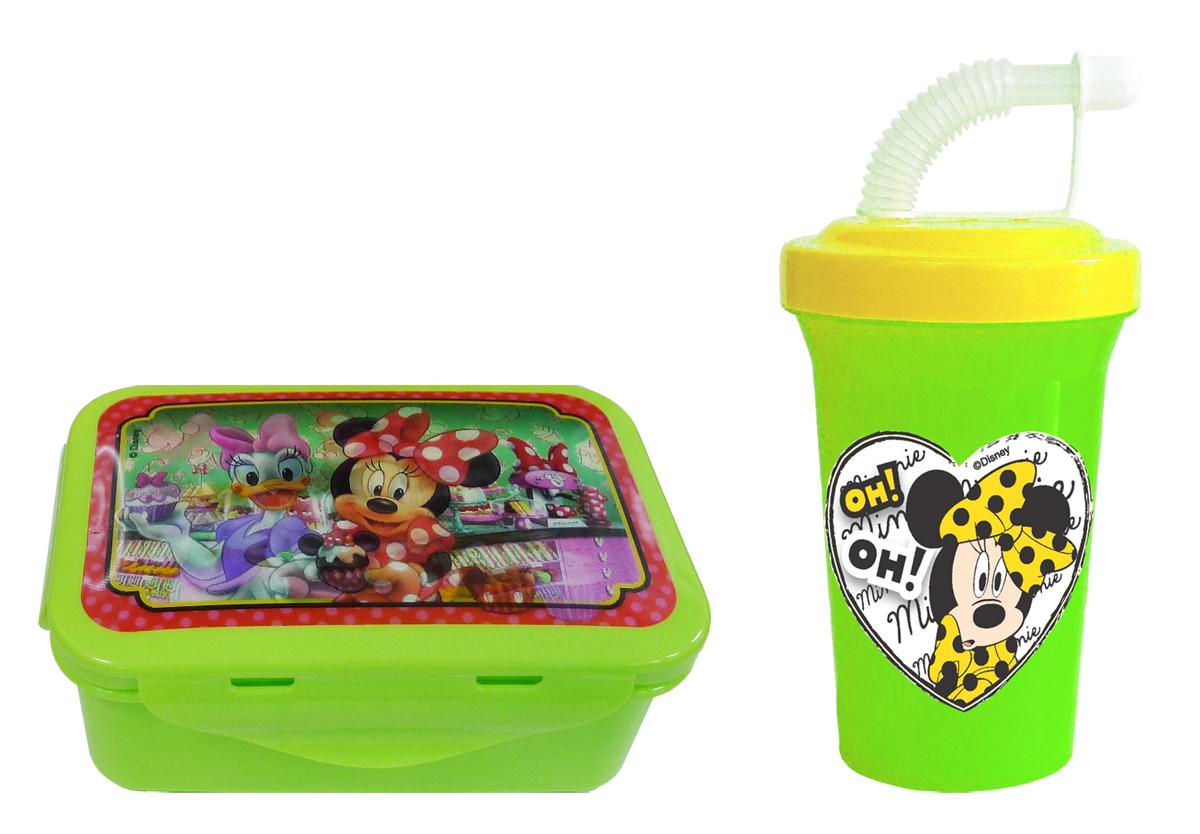 Набор детской дорожной посуды Минни 2 предметаM2N2Дорожный набор из 2-х предметов с героями Дисней - Минни и Дейзи: герметичный контейнер для еды и дорожная фляга с трубочкой. Контейнер (15*10*6 см) имеет надежные застежки с 4-х сторон, вместительный и компактный - удобно взять в детский сад, школу, в дорогу. На крышке контейнера сюжет с любимыми героями Дисней - мышкой Минни и уткой Дейзи. Изображение меняется под разным углом зрения - Минни и Дейзи в кондитерской выбирают сладости. Фляга 400 мл с крышкой на винте, трубочкой и закрывающим колпачком, предотвращающим протекание. Контейнер и фляга изготовлены из безопасного пищевого пластика. Легко разбираются и моются губкой с мылом. В СВЧ можно разогревать контейнер без крышки!Бутербродница х 1шт; Фляга 400 мл х 1 шт.;