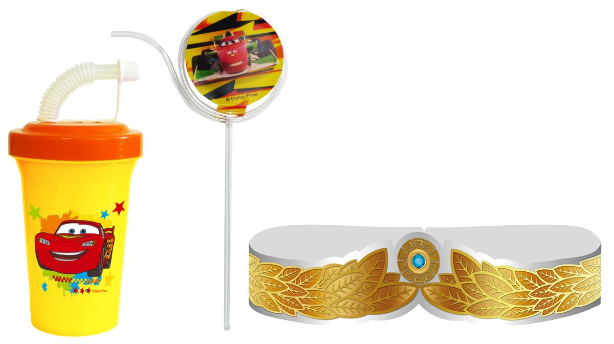 Набор для праздника Тачки 3 предметаN559DCMT1Праздничный набор из 3-х предметов: бокал 400 мл с крышкой на винте, трубочкой и закрывающим колпачком от протекания + многоразовая витая трубочка спиннинг с двухсторонним рисунком, меняющимся под разным углом зрения + лавровый венок победителя с золотым и серебряным блеском, с замком под разный размер головы ребенка. Изготовлено из безопасного пищевого пластика, венок - металлизированный картон. Дизайн ТАЧКИ. Фляга 400 мл х 1 шт.; трубочка х 1 шт.; венок х 1 шт.
