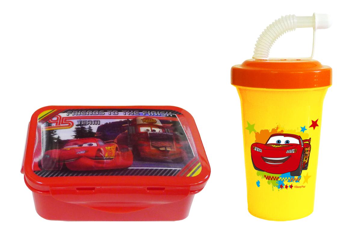 Набор детской дорожной посуды Тачки 2 предмета72305Дорожный набор из 2-х предметов с героями Дисней - Тачки: герметичный контейнер для еды и дорожная фляга с трубочкой. Контейнер (15х10х6 см) имеет надежные застежки с 4-х сторон, вместительный и компактный - удобно взять в детский сад, школу, в дорогу. На крышке контейнера сюжет из популярного фильма Тачки с изображением, которое меняется под разным углом зрения. Фляга 400 мл с крышкой на винте, трубочкой и закрывающим колпачком, предотвращающим протекание. Контейнер и фляга изготовлены из пищевого пластика. Легко разбираются и моются губкой с мылом. В СВЧ можно разогревать контейнер без крышки!