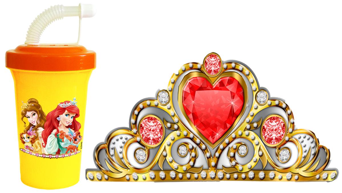Набор для праздника Принцессы 2 предмета80-115Праздничный набор Принцессы изготовлен из безопасного пищевого пластика, диадема - металлизированный картон. Набор состоит из 2-х предметов: бокал 400 мл с рисунком Принцессы с крышкой на винте, трубочкой и закрывающим колпачком от протекания + корона-диадема для маленьких Принцесс - блестящая золотом, серебром и драгоценными камнями с золоченной резинкой для разного размера головы. .